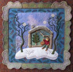 Folk Embroidery Tutorial Little Jack Horner from Pocket Full of Posies - Embroidery bu Salley Mavor of Wee Folk Studio Hand Embroidery Videos, Felt Embroidery, Learn Embroidery, Felt Applique, Felted Wool Crafts, Felt Crafts, Felting Tutorials, Fabric Art, Sewing Crafts