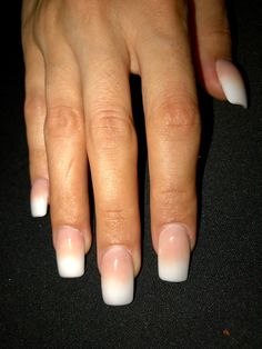 French fade white tip gel nails #ombre #acrylics #gelnails #nochip #nochipnails #milky #french #nails #french #fade #white #gel