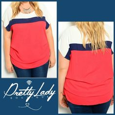 ✨Plus✨Pretty  top Ivory, Navy, and Red! Comfortable top and very soft texture, it has a peep hole on the back and cinched sides towards bottom of shirt. Fabric: 100% POLYESTER Size available: 1XL-2XL-3XL 💞1Xl Shoulder to bottom hem its 32in long 💞2Xl Shoulder to bottom hem its 34in long 💞3Xl houlder to bottom hem its 36in long 🌟Firm Price No offers🌟 Tops