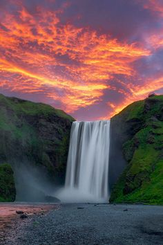 Sunrise at Skogafoss in Iceland - that little platform at the top really scared me when we were there.