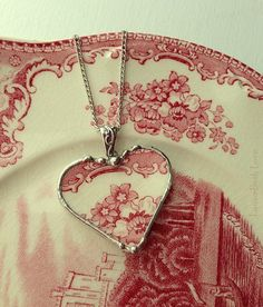 Broken china heart pendant necklace by Laura Beth Love