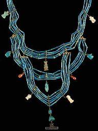 AN EGYPTIAN BLUE FAIENCE NECKLACELATE PERIOD, DYNASTY XXVI-XXX, 664-343 B.C.