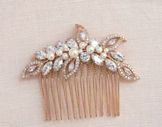 Rose Gold Bridal Comb, Rose Gold Wedding headpiece, Hair clip, Wedding hair comb, Swarovski Pearls, Wedding jewelry, Linneah Bridal Comb