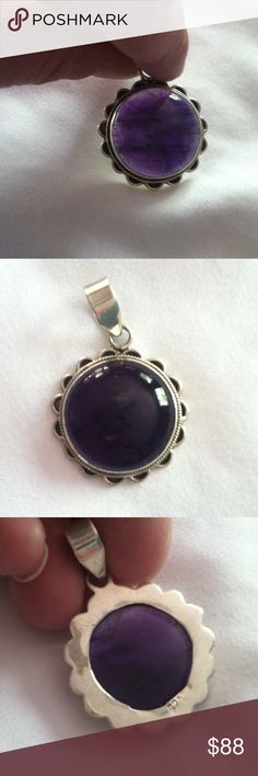 Small round amethyst pendant - .925 silver Exquisite design around this round amethyst with some inclusion lines going across. Apprx weight - 8.5g - one of my personal favorites amethyst is known for protectiveness. Large bail makes ideal for many different necklaces (chain not included) Jewelry Necklaces