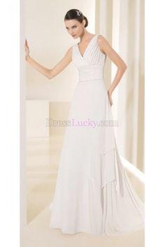 Simple White A-Line/Princess Long/Floor-length Hall Chiffon Wedding Dresses WD22C1