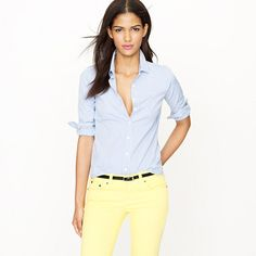 I'm been looking for pastel yellow pants to wear and this combo looks good! By J Crew.