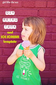 DIY Retro Ice Scream Tank Top for summer ice cream eating from Me Sew Crazy- free template