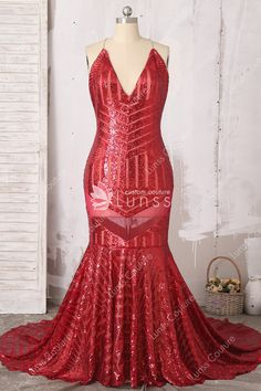 e4343056e0 Sparkling Long Red Pattern Sequin Spaghetti Strap Halter V Neck Mermaid Prom  Dress
