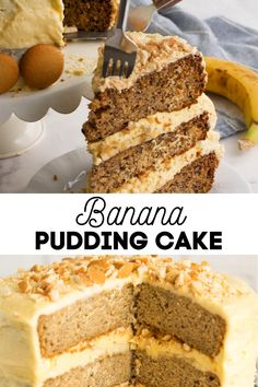 *NEW* Banana Pudding Cake features moist banana cake layered with vanilla filling, bananas, and vanilla wafers. It's all topped with vanilla pudding frosting! how to make a banana pudding cake // banana pudding cake from scratch // layered banana pudding cake #bananapuddingcake #puddingcake #cake #bananacake #birthdaycake #bananas #cakes Pudding Frosting, Banana Pudding Cake, Frosting Recipes, Cake Recipes, Delicious Deserts, Yummy Food, Picnic Foods, Comfort Foods, Bananas