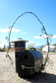 Lunchbox & thermos barn & silo birdhouse