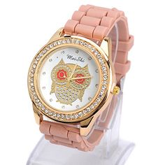 Fit light coffee diamond decorated owl pattern design silicone Ladies Watches http://www.asujewelry.com