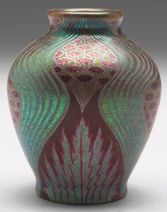 """Fine Zsolnay vase, small shouldered shape with a design of delicate red flowers, marked, #5303, 2.5""""w x 3""""h"""