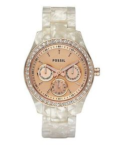 Fossil, mother of pearl band, lovely watch for her, awesome gift for her