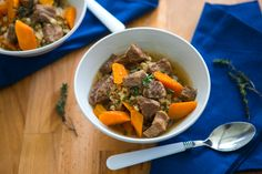 The Easiest Slow Cooker Vegetable, Beef, and Barley Soup (12 ingredients: beef stew meat, onion, celery, carrots, garlic, thyme, bay leaves, beef stock, tomato paste, salt, pearl barley, oil)