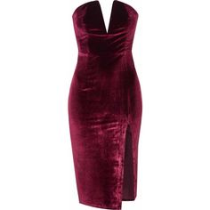 Burgundy Velvet Bandeau Bodycon Dress ($38) ❤ liked on Polyvore featuring dresses, burgundy, purple dress, bodycon midi dress, strapless dress, midi dress and strapless cocktail dress