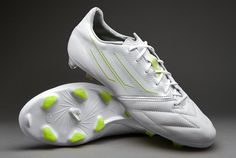 adidas Football Boots - adidas F50 adizero TRX FG Leather - Firm Ground - Soccer Cleats - Running White-Running White-Solar Slime