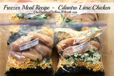 Freezer Meal Recipe - Cilantro Lime Chicken 3 or 4 chicken breasts {I used Zaycon chicken} cup lime juice 1 bunch fresh cilantro, chopped 2 cups frozen corn 2 garlic cloves, minced onion, chopped 1 can cups} black beans, drained and rinsed 1 tsp cumin Chicken Freezer Meals, Dump Meals, Freezer Cooking, Crock Pot Cooking, Chicken Recipes, Bulk Cooking, Real Food Recipes, Cooking Recipes, Yummy Food