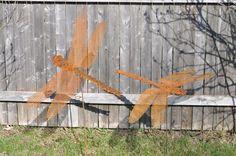 Metal Garden Art, Sculptured Metal Handmade Dragonfly, rusted metal dragonfly stake, dragonfly yard and garden stake. $32.00, via Etsy.
