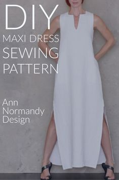 Full Length Dress, Maxi Dress PDF sewing pattern. Couture quality, long dress pattern with timeless caftan style. With square and v neck, pockets and side vents. #sewingpatterns #sewingprojects #sewingideas #maxidresspattern #linendresspattern #dresspattern #longdresssewingpattern #minimalistpattern #annnormandydesign