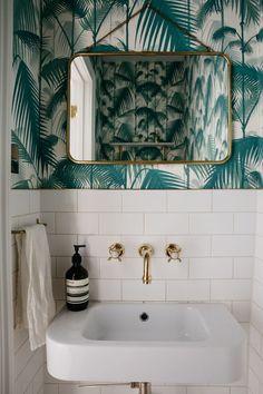 Fun with plastic bathroom tile - genius powder room design!Fun with plastic bathroom tile - genius powder room design! Bathroom design fun genius loris plastic 40 powder room ideas to Bathroom Interior, Modern Bathroom, Green Bathrooms, Bathroom Small, Brass Bathroom, Tropical Bathroom, Bathroom Grey, Wall Paper Bathroom, Bathroom Mirrors