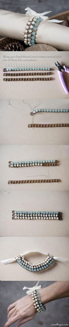 DIY Bracelet Chain and Ombre Beads . Real link and full instructions click here http://fabyoubliss.com/2013/01/10/how-to-make-a-pretty-unique-ombre-bead-chain-bracelet-like-this-one/