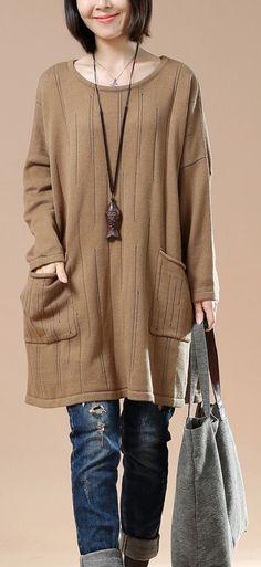 Plus size sweaters khaki women sweater knit blouses