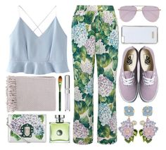 """""""Summer Picnic: Pastel Florals"""" by the-amj ❤ liked on Polyvore featuring Dolce&Gabbana, WithChic, Origins, Vans, Le Specs, Topshop, Surya and Chantecaille"""