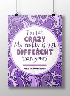 "Cheshire cat quote ""I'm not crazy"", Alice in Wonderland, Lewis Carroll, teen room decor, purple home wall art, digital download poster"