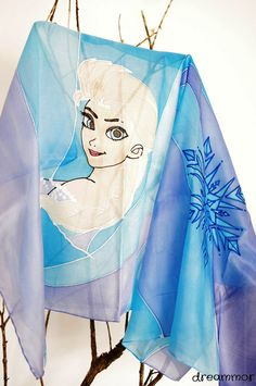 Elegant hand-painted silk scarf. Elsa  Frozen by dreammor on Etsy
