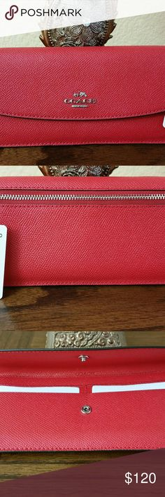 "Womens  Coach  Wallet Style  No:F54008, Color  Bright  Red,  Crossgrain Leather,  Eight Credit Card Compartment,  Full Length Bill Compartment,  Snap Closure,  Outside Zip Coin Pocket,  7 3/4""(L)?3 1/2""(H) Coach  Bags Wallets"