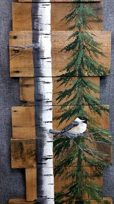 Cardinal in pine tree, Tall White Birch with cardinal, Pine tree with snow, gray Barn wood wall art, Wood Pallet art Scheune-Holz-Wand-Kunst rustikale Einrichtung Holz-Palette Pallet Tree, Wood Pallet Art, Pallet Painting, Wood Pallets, Painting On Wood, Pallet Boards, Painting Walls, Diy Wood, Art On Wood