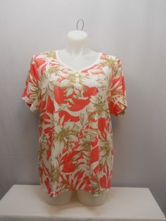 PLUS SIZE 3X Womens Knit Top KAREN SCOTT Coral Floral Short Sleeves V-Neck  #KarenScott #KnitTop #Casual