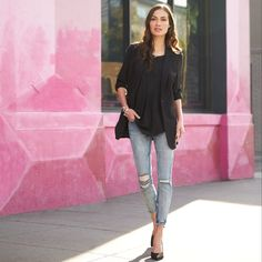 Don't let the thought of distressed jeans stress you out. Just think of it as adding instant street cred to any look. Pair them with a T-shirt & sneakers for a weekend filled with errands, or go glam with pumps and a blazer.