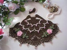 Crinoline Lady, Coffee & Cream, Crochet Doily with Glass Beads, Doilies