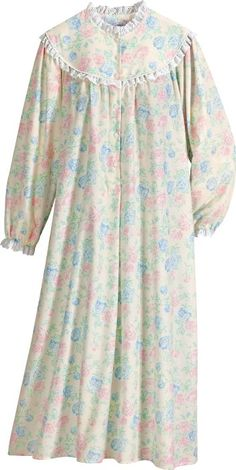 Cotton flannel nightgown in a floral print features the quality and comfort of Lanz of Salzburg. Night Gown Dress, Flannel Nightgown, Night Dress For Women, Night Suit, Nightgowns For Women, Pajamas Women, Maternity Dresses, Nightwear, Dress Patterns