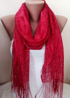 NEWPink Red  Tulle Fringed ScarfFuschia by EcoScarvesDesign, $9.50