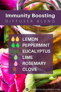 Essential oil diffuser recipe to boost your immune system. Using Lemon Peppermint Eucalyptus Lime Rosemary and Clove essential oils. Try it today! Essential Oils For Colds, Citrus Essential Oil, Essential Oil Diffuser Blends, Essential Oil Uses, Immunity Essential Oils, Melaleuca Essential Oil, Healing Oils, Aromatherapy Oils, Aromatherapy Recipes