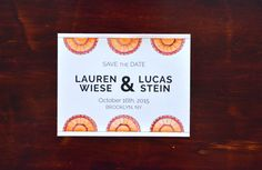 Spanish fan custom watercolor Save the Date, orange/clementine & pink/rose, wedding by JulietPrinted on Etsy https://www.etsy.com/listing/226490855/spanish-fan-custom-watercolor-save-the