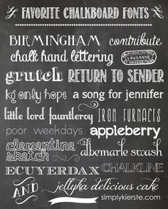 Favorite free CHALKBOARD fonts!! Plus...an EASY way to create your own chalkboard printables!  #chalkboard #printables #simplykierste