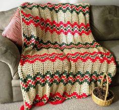 Handmade crochet afghan granny ripple red