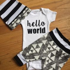 Baby boy coming home outfit - black triangle theme - going home set hello world, baby shower gift, coming home outfit new baby going home ou