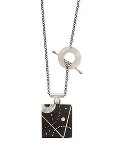 Ebony and Silver Slice of Space Necklace