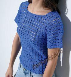 Пуловер крючком (ж) 07*589 Phildar №4704
