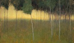 David Grossmann(American, b.1984)Sunlight Behind the Aspens Oil on Linen 20 x 34 inches via