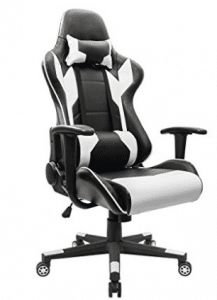 Homall Gaming Chair Office Chair High Back Computer Chair PU Leather Desk Chair PC Racing Executive Ergonomic Adjustable Swivel Task Chair with Headrest and Lumbar Support (White) Chaise Gaming, Gaming Chair, Farmhouse Table Chairs, White Dining Chairs, Black Chairs, Rustic Farmhouse, Accent Chairs, Best Ergonomic Office Chair, High Back Office Chair
