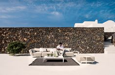 Mirthe coffee table | Tribù Outdoor Cushions, Outdoor Lounge, Outdoor Fabric, Outdoor Living, Outdoor Sofas, Outdoor Decor, Garden Furniture, Outdoor Furniture, Cell Structure