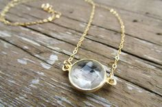 Crystal Quartz Coin Necklace Simple Gold by WanderandLustJewelry, $34.00