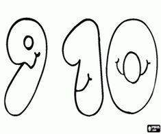 Colorea los números 9 y 10 con una sonrisa. Números nueve y diez, para colorear, pintar, adornar.