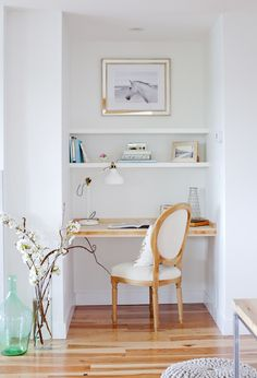 small desk idea. crisp cottage look and has a Horse in the design! desk