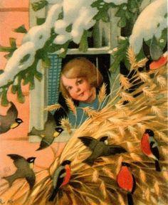 Christmas Tale, Vintage Christmas Cards, Xmas, Vintage Birds, Vintage Postcards, Vintage Art, Childrens Christmas, Christmas Printables, Christmas Pictures